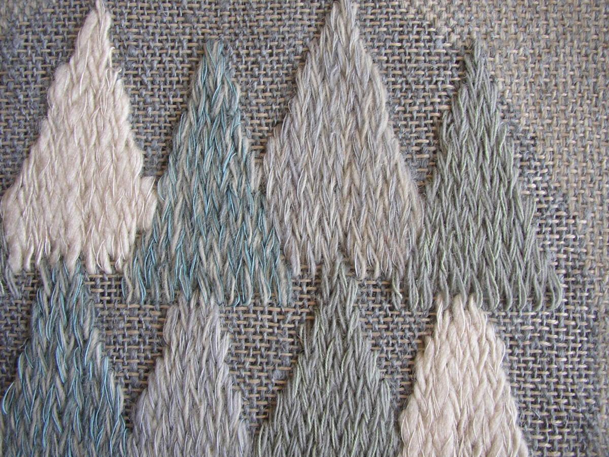 スウェーデン織  技法『スナイリー』秋木立と冬木立2点 北欧テキスタイル  伝統手工芸_画像9