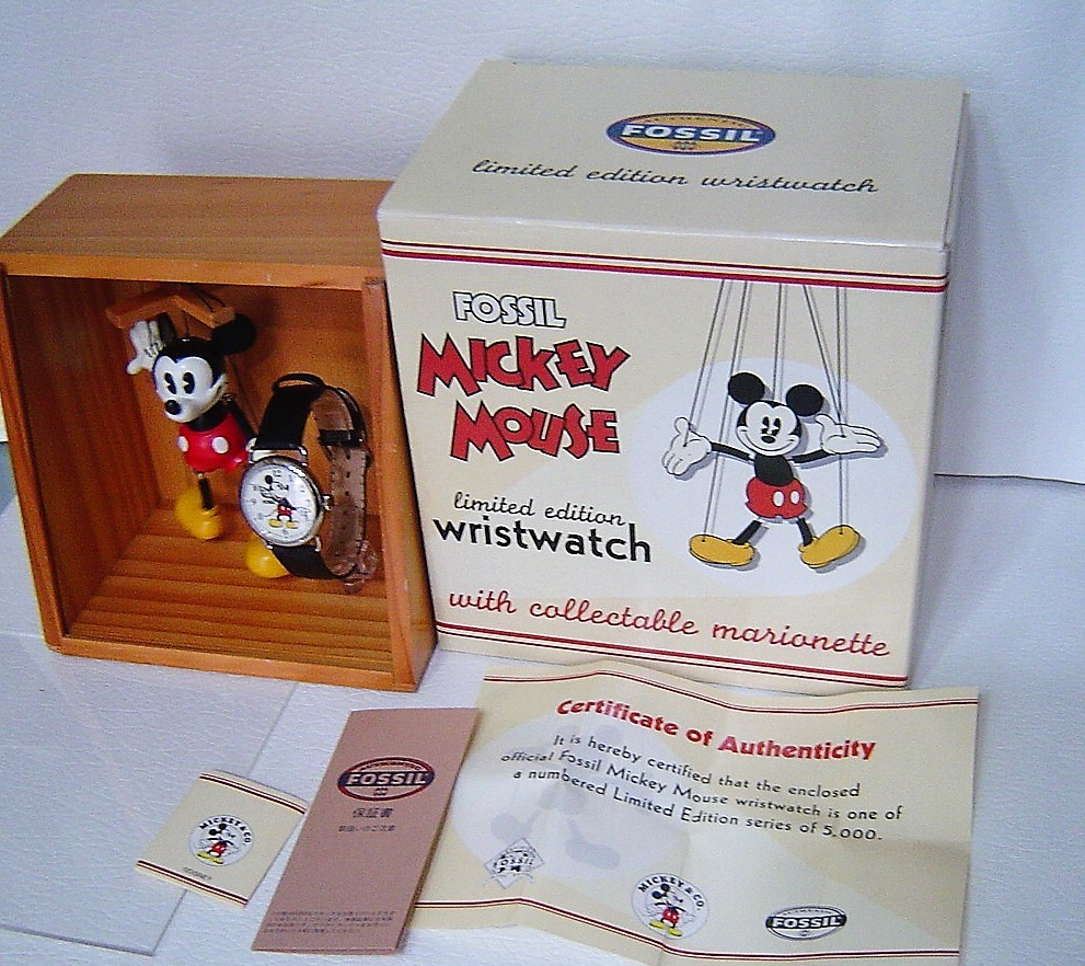 誰かが入れたら終わり!1997年限定フォッシル操りミッキーマウス!未使用品!飾ってもかわいい!金色じゃないのがいい!_画像5