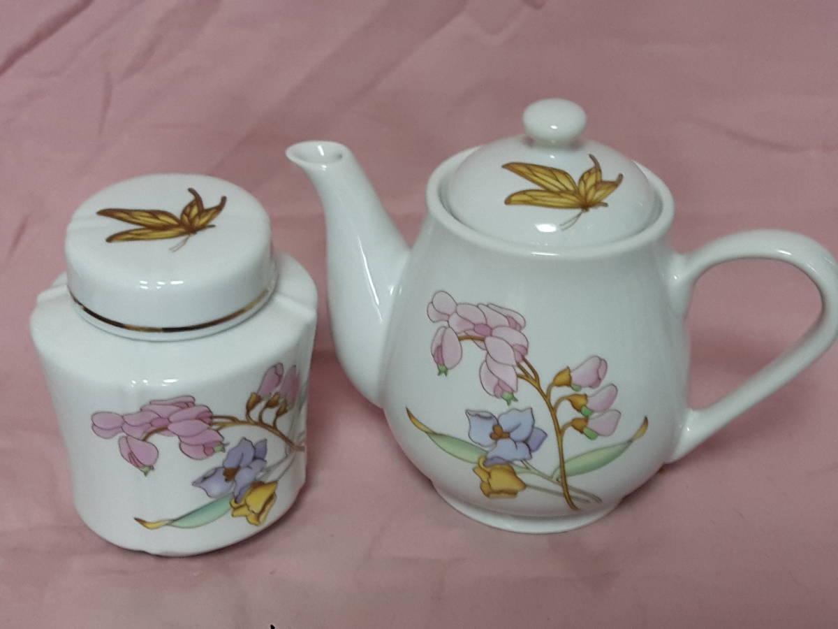 スコットランド製  ポット、紅茶入れ 花柄 陶器 小さい