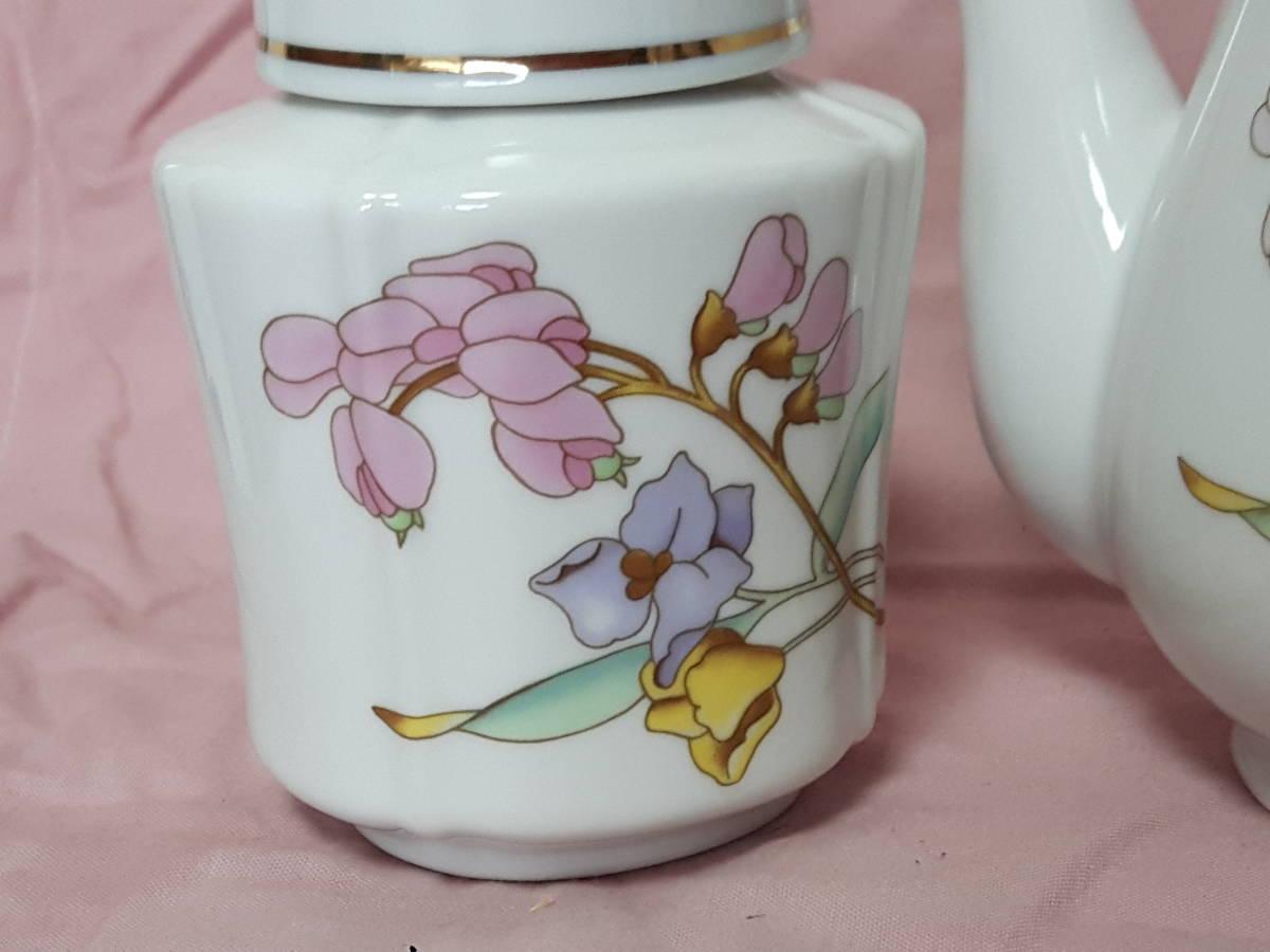 スコットランド製  ポット、紅茶入れ 花柄 陶器 小さい _画像2