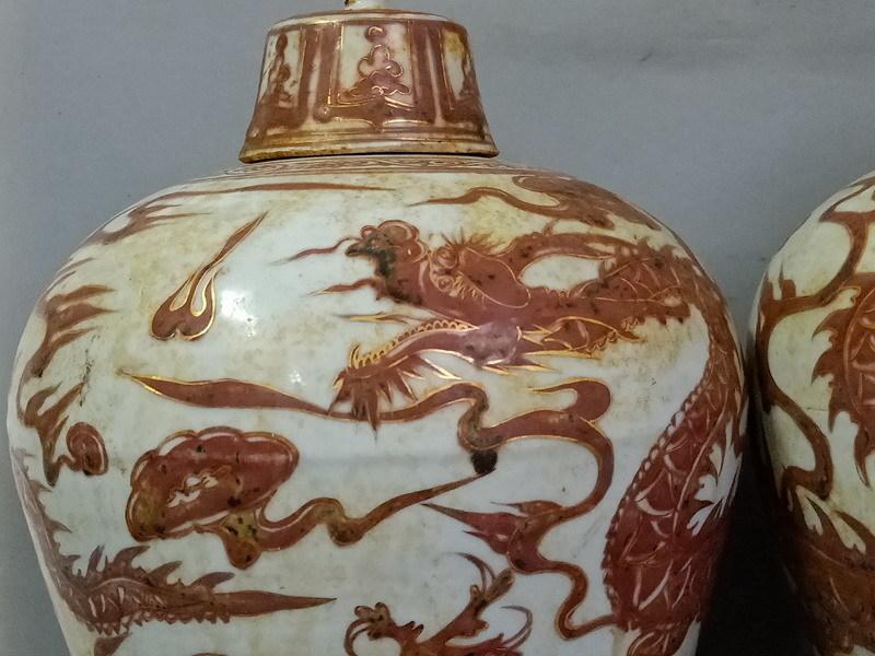 元 釉里赤い 描金 竜紋磁瓶ペア_画像4