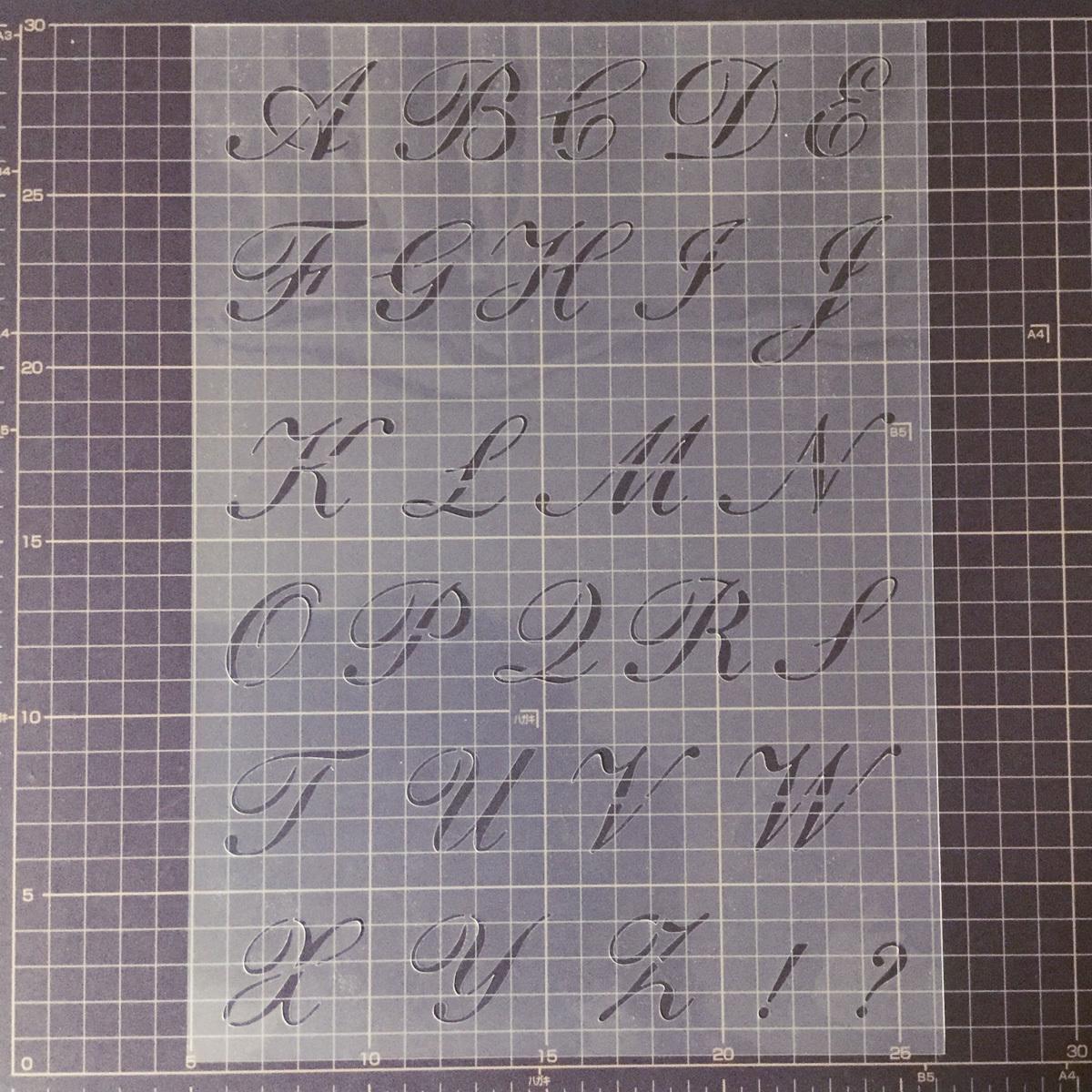 スクリプト欧文書体①番 アルファベット 大文字 サイズ縦3センチ基準 sb1 ステンシルシート NO121_画像4