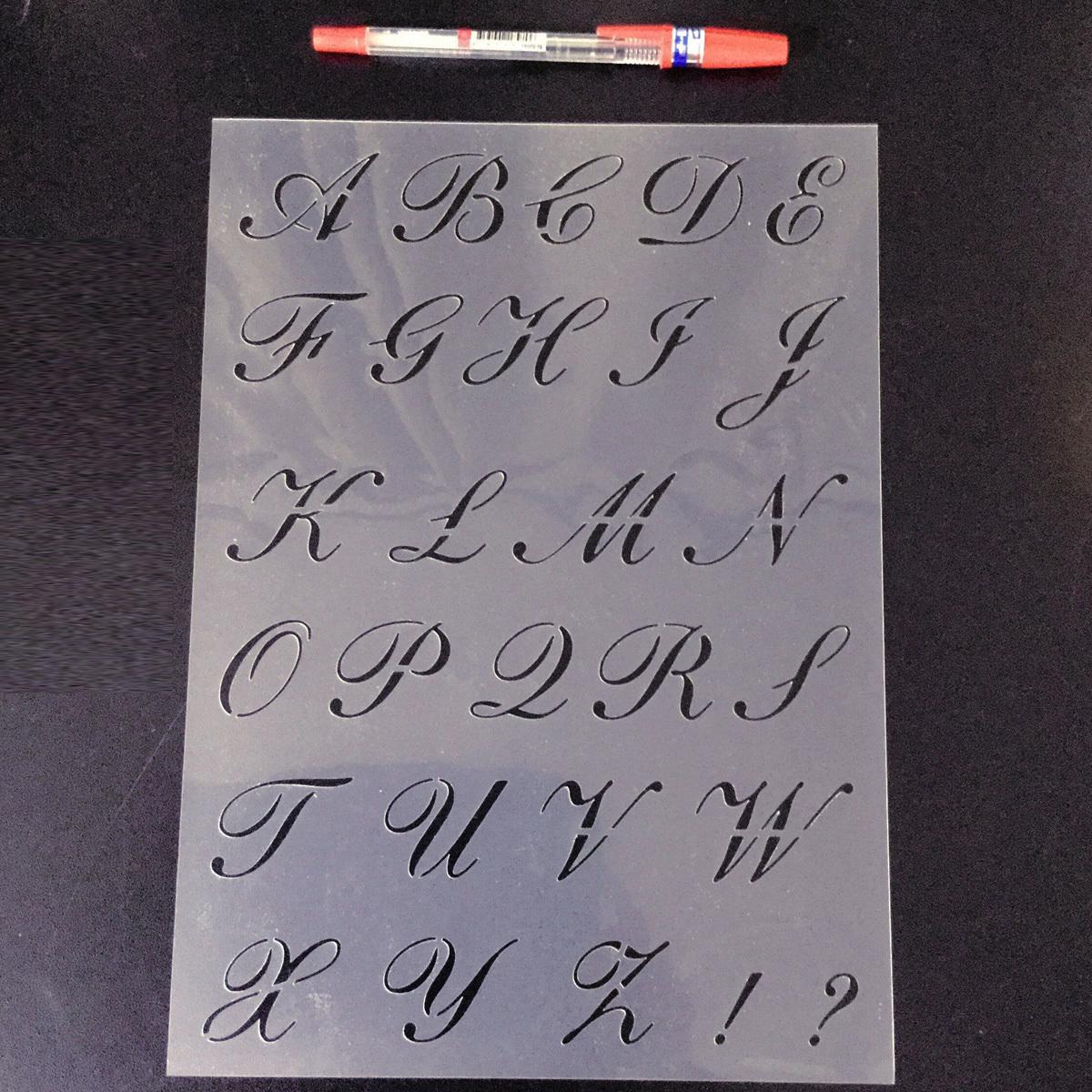 スクリプト欧文書体①番 アルファベット 大文字 サイズ縦3センチ基準 sb1 ステンシルシート NO121_画像9