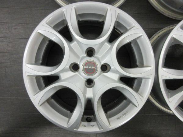 中古ホイール MAK トリノ 15インチ 6J +35 PCD 98 4穴 ハブ径 58.1mm 1台分 FIAT フィアット 500 プント パンダ_画像5