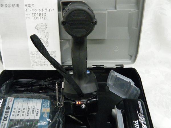 *【未使用品】* マキタ 充電式インパクトドライバ TD171DRGX(B)ブラック 6.0Ah/18V 製造番号181448_画像6