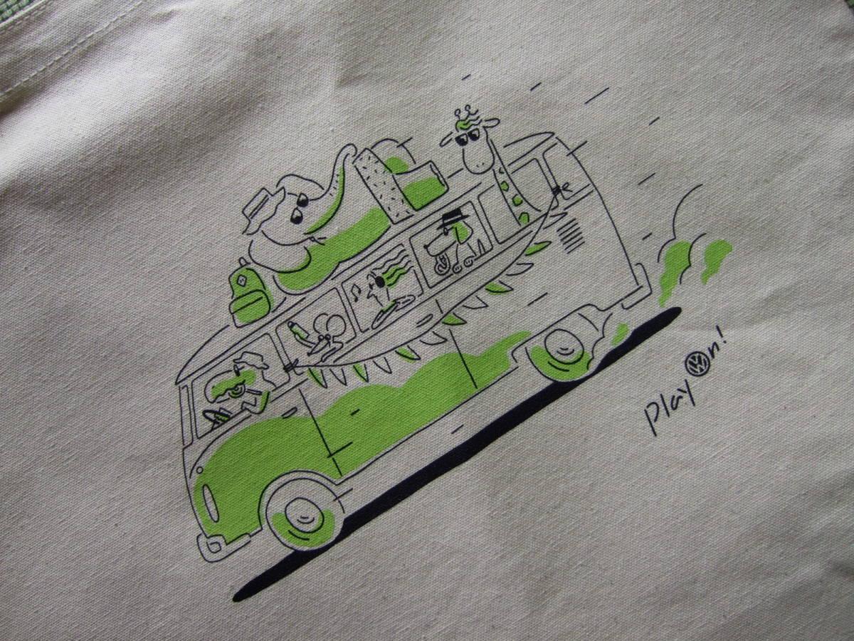 フォルクスワーゲン★VW★トートバッグ★緑★綿★コットン★バス★未使用★おまけ付_画像4