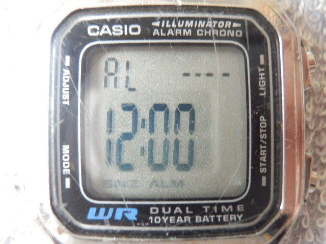 215 2 CASIO WR アラームクロノ デジタルウオッチ動品 送¥140~_画像3