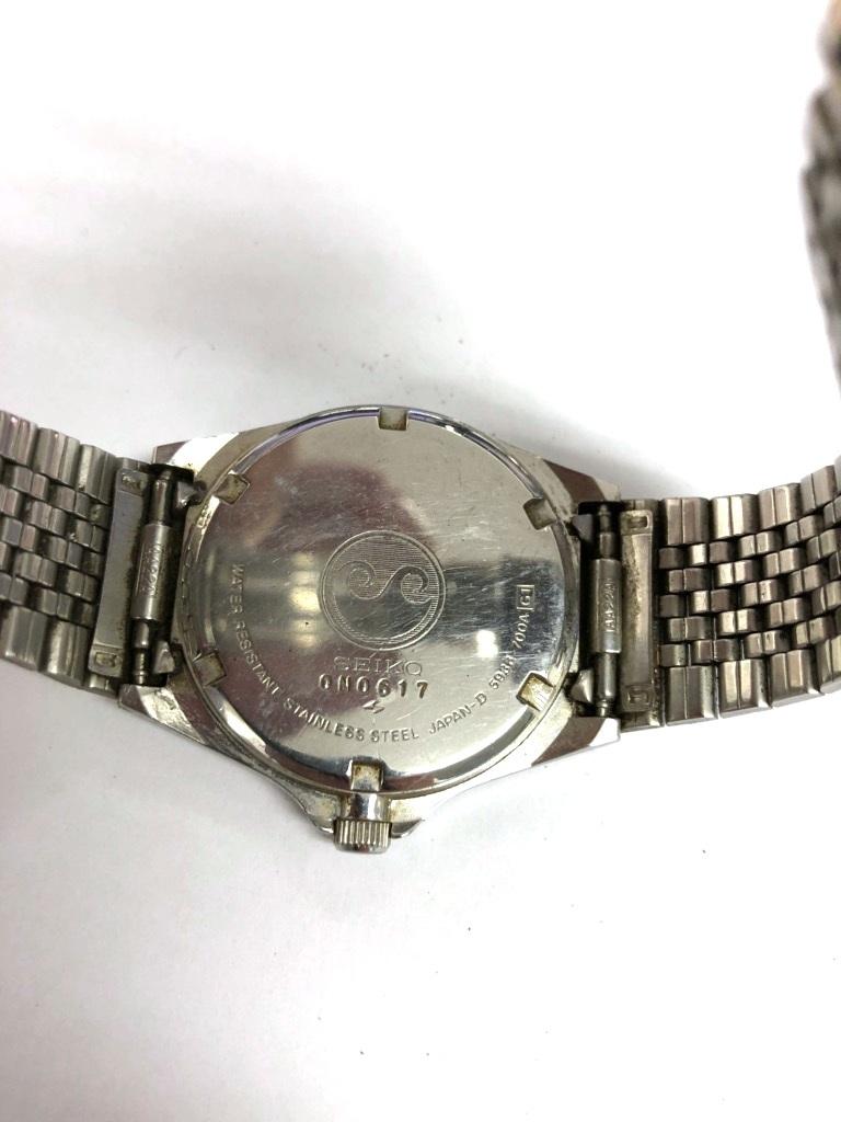 【中古品】SEIKO/セイコー Silver Wave/シルバーウェーブ クォーツ メンズ 腕時計 5933-700A 黒文字盤 デイデイト 電池切れ_画像5