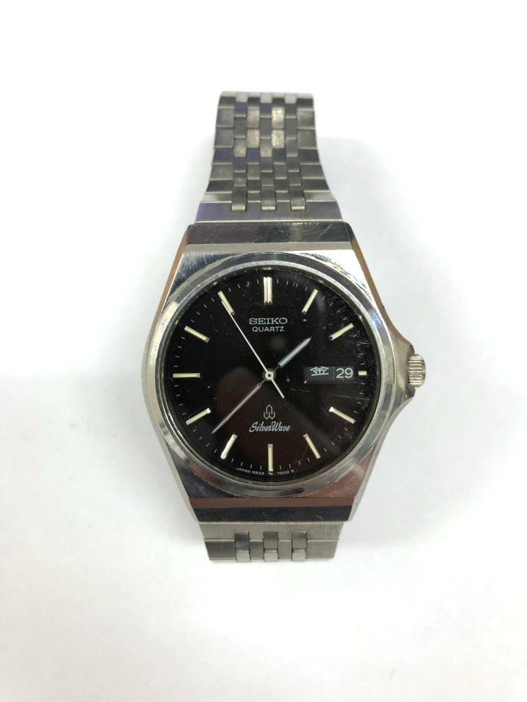【中古品】SEIKO/セイコー Silver Wave/シルバーウェーブ クォーツ メンズ 腕時計 5933-700A 黒文字盤 デイデイト 電池切れ
