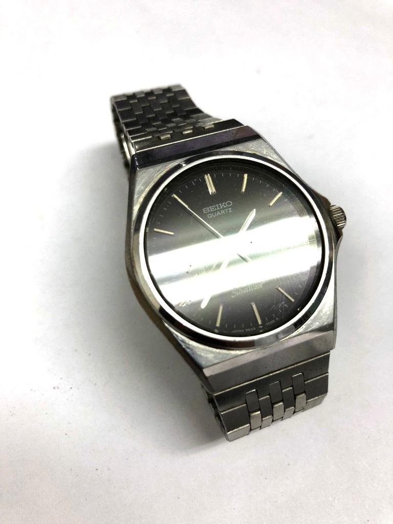 【中古品】SEIKO/セイコー Silver Wave/シルバーウェーブ クォーツ メンズ 腕時計 5933-700A 黒文字盤 デイデイト 電池切れ_画像2