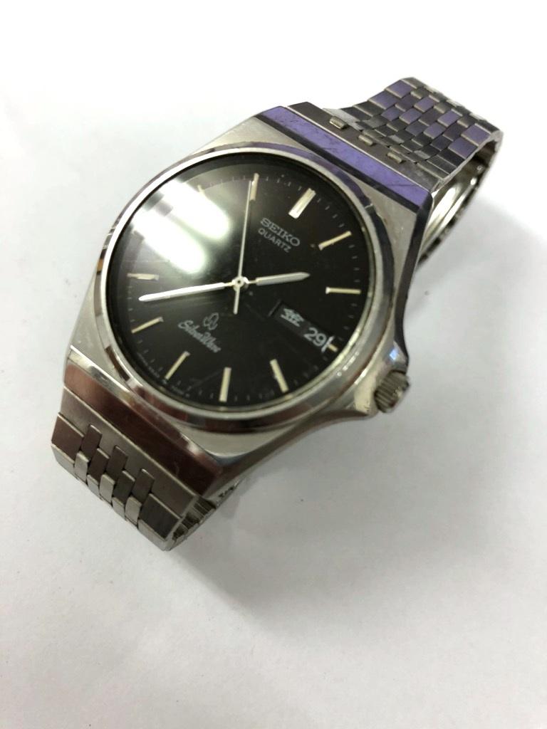 【中古品】SEIKO/セイコー Silver Wave/シルバーウェーブ クォーツ メンズ 腕時計 5933-700A 黒文字盤 デイデイト 電池切れ_画像3