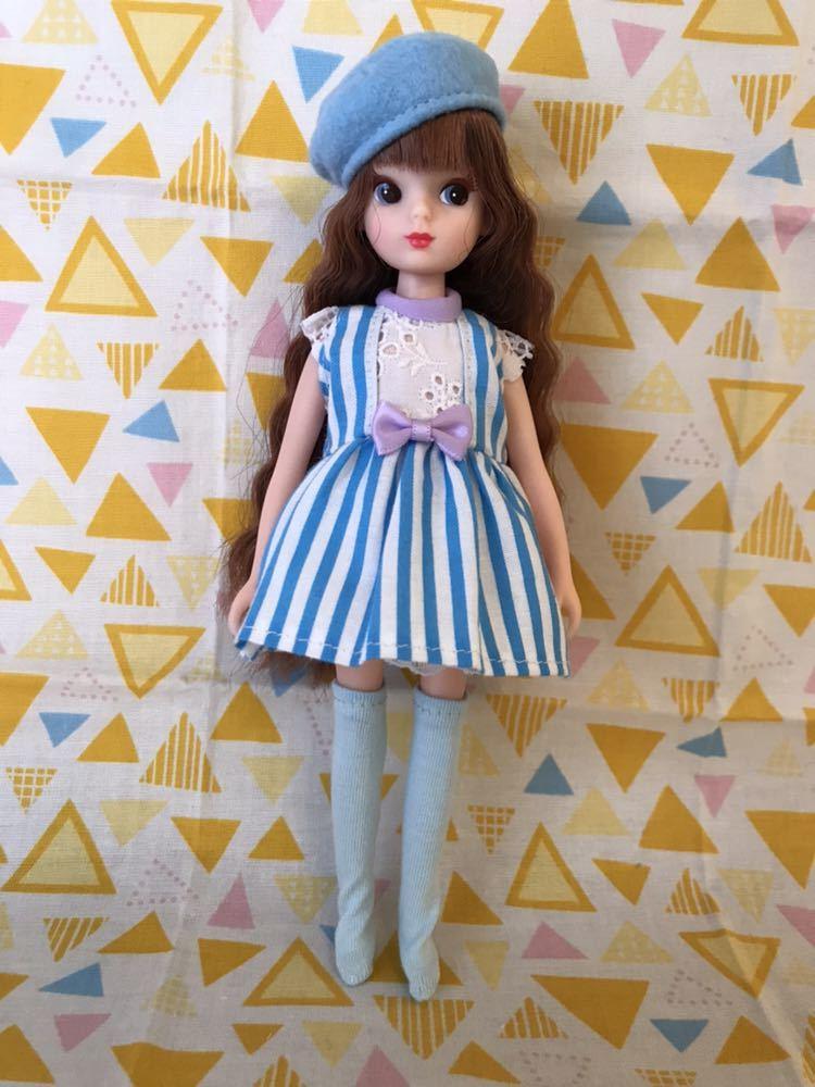 リカちゃん初代から3代目サイズ 手作り服セット ブルーストライプ