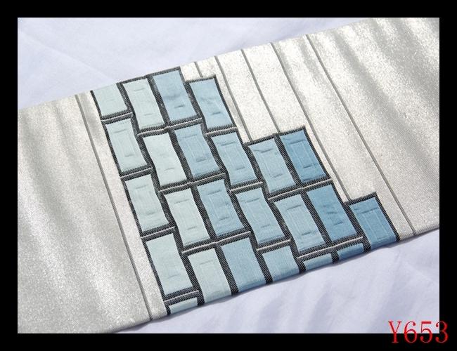 【J653】西陣織美品 正絹 シルバー空色紺碧 幾何学文様 高級美術名古屋帯 検★着物袋帯名古屋帯和装小物帯_画像5