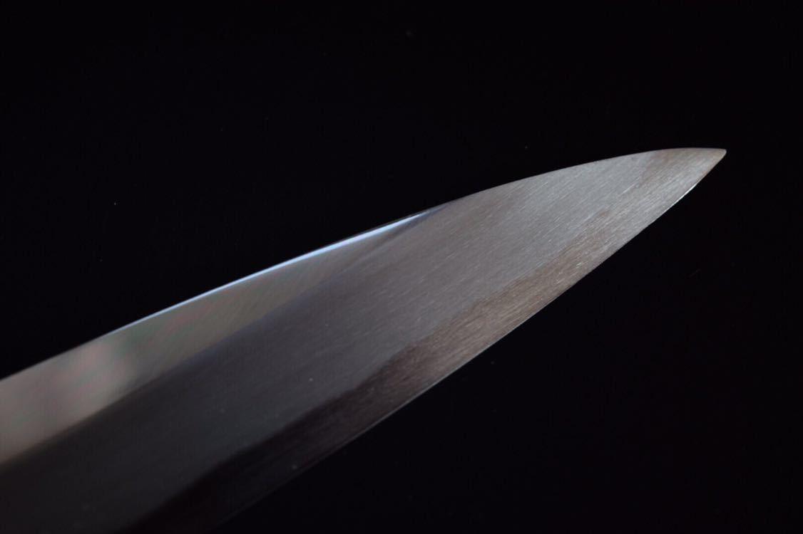 新品 堺製 青二鋼本鍛錬 ヒラ鏡面仕上げ 柳刃包丁 尺寸 300mm 花梨瘤 拭き漆仕上げ_画像3