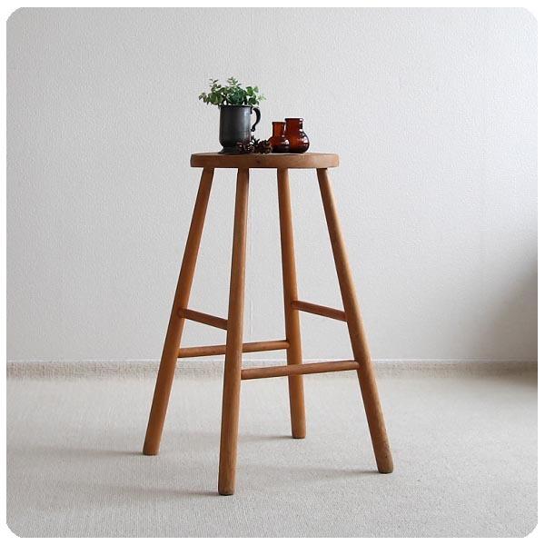 イギリス アンティーク ハイスツール/ナチュラル/カウンターチェア/無垢材/丸椅子【雰囲気パーフェクト商品】Y-873_画像1