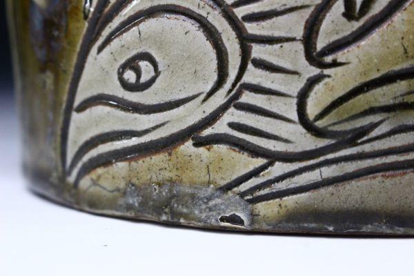 【櫻】人間国宝 金城次郎 大型 魚紋抱瓶 壺屋焼 琉球陶器 保証品 [gk]02_画像8
