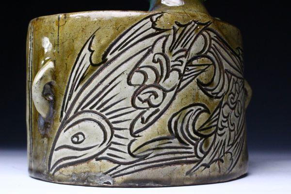 【櫻】人間国宝 金城次郎 大型 魚紋抱瓶 壺屋焼 琉球陶器 保証品 [gk]02_画像7