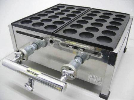 03-1150 下野金属 AKS 業務用 たこ焼き器2丁 18穴 28穴 2連 プロパンガス LPガス たこ焼機 410×350×180 屋台 店舗用 たこ焼器 小玉 大玉_写真は都市ガスですが商品はLPガスです。