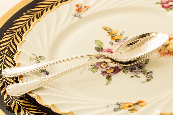 ピュイフォルカ ティースプーンx2 バイオリン型 銀無垢 【y61】フランス・アンティーク・カトラリー _画像7