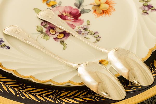 ピュイフォルカ ティースプーンx2 バイオリン型 銀無垢 【y61】フランス・アンティーク・カトラリー _画像8