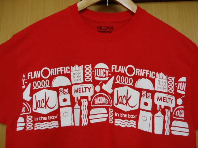 即決 ハワイ ジャックインザボックス スタッフ Tシャツ 赤色 M ハンバーガー_画像1