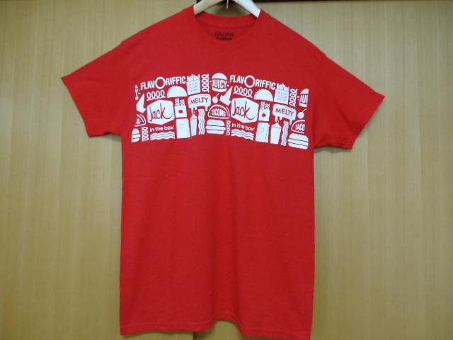 即決 ハワイ ジャックインザボックス スタッフ Tシャツ 赤色 M ハンバーガー_画像2