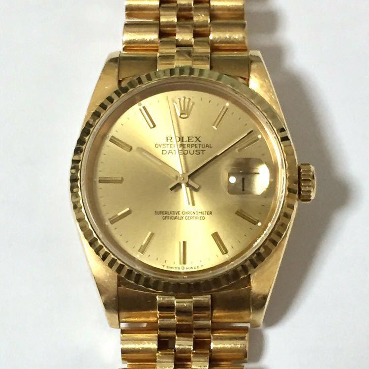 【ROLEX】ロレックス デイトジャスト 16238 K18YG イエローゴールド 18金 金無垢 自動巻腕時計 メンズ E番 1990~1991年 直接取引値下可_画像2