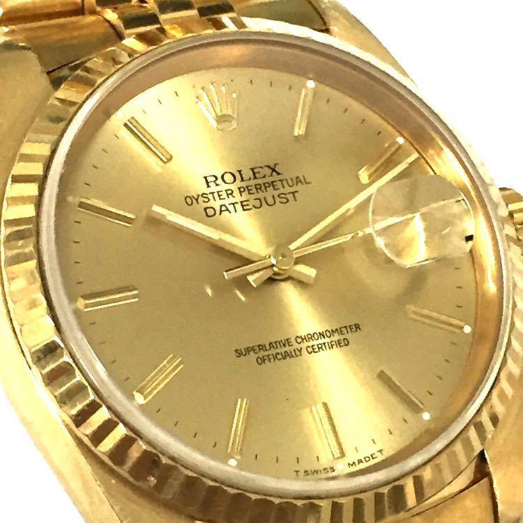 【ROLEX】ロレックス デイトジャスト 16238 K18YG イエローゴールド 18金 金無垢 自動巻腕時計 メンズ E番 1990~1991年 直接取引値下可_画像4