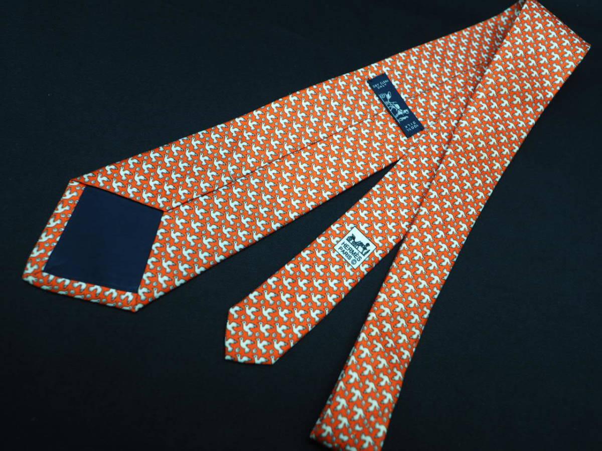 美品 HERMES エルメス FRANCE フランス製 【オレンジ 鳥 バード 花 白 フラワー】ネクタイ USED オールド ブランド シルク_画像2