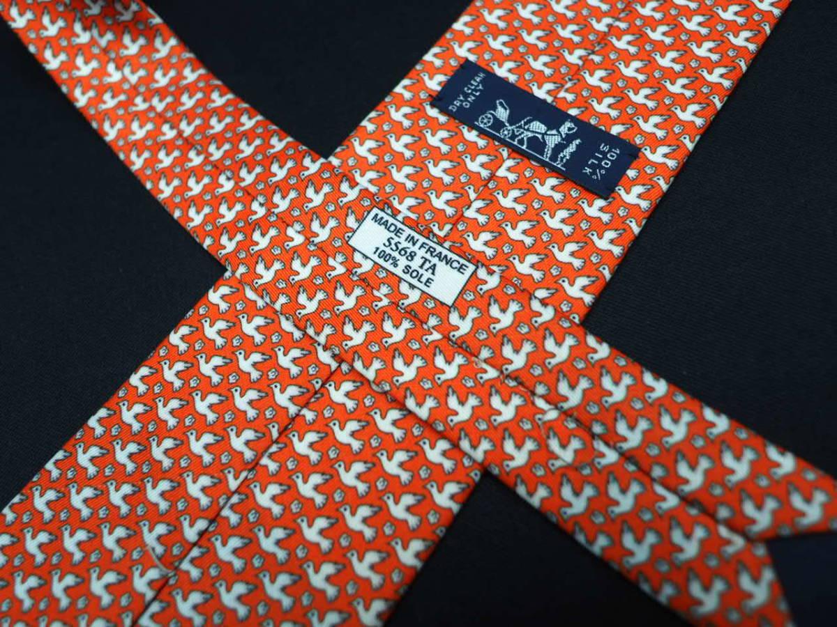 美品 HERMES エルメス FRANCE フランス製 【オレンジ 鳥 バード 花 白 フラワー】ネクタイ USED オールド ブランド シルク_画像5