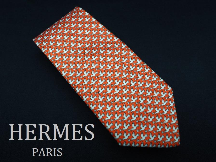 美品 HERMES エルメス FRANCE フランス製 【オレンジ 鳥 バード 花 白 フラワー】ネクタイ USED オールド ブランド シルク
