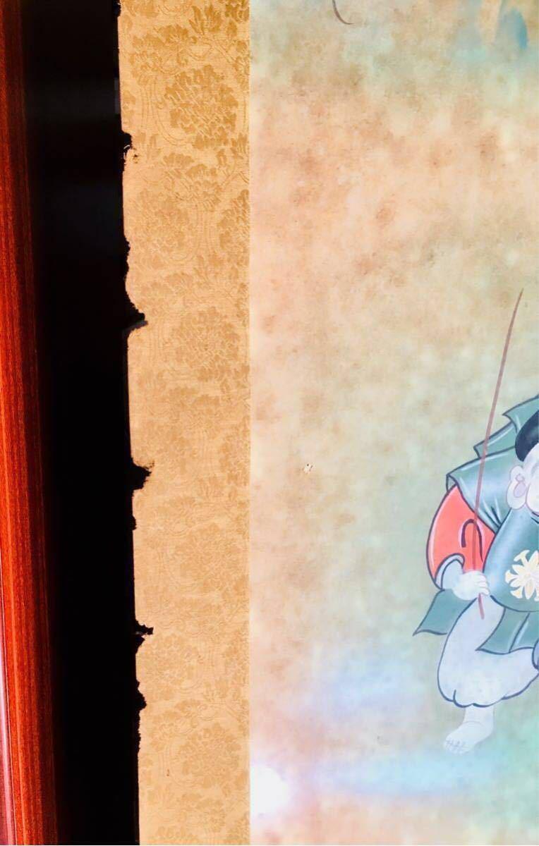 ◆ 掛け軸 華萌【一富士二鷹三茄子】開運縁起之図 共箱 日本画 絵画 書画 アンティーク 骨董 ビンテージ 昭和 レトロ 年代物 古物 古美術_画像4