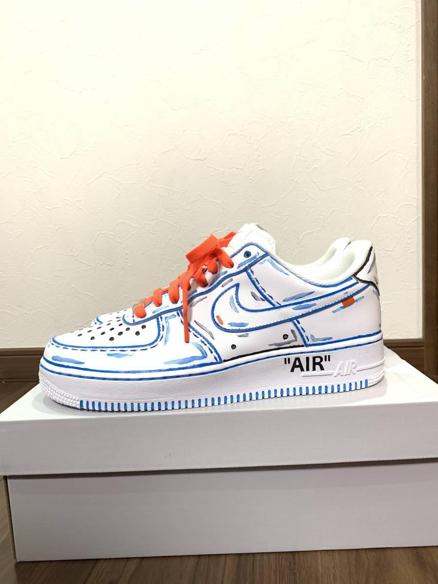 新作 オフホワイトモデル Nike(ナイキ) Air Force 1 White/White エアフォース1 ホワイト/27.5cm カスタム 自作 ハンドメイド_画像2