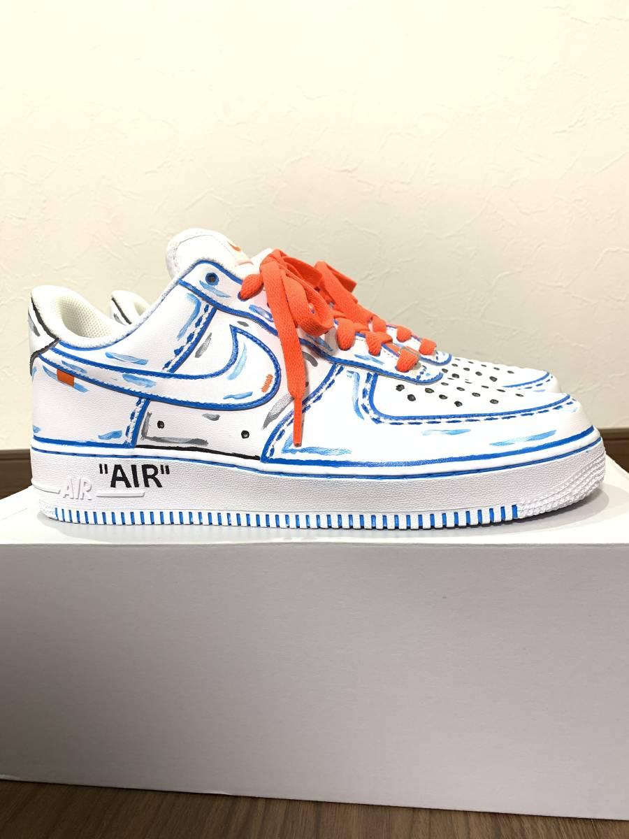 新作 オフホワイトモデル Nike(ナイキ) Air Force 1 White/White エアフォース1 ホワイト/27.5cm カスタム 自作 ハンドメイド_画像3