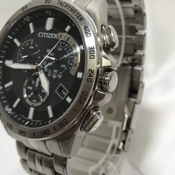 稼働品 CITIZEN シチズン エコドライブ E610-S074321 腕時計 メンズ 電波時計 ソーラー電波 時計 アテッサ シチズンウォッチ_画像3