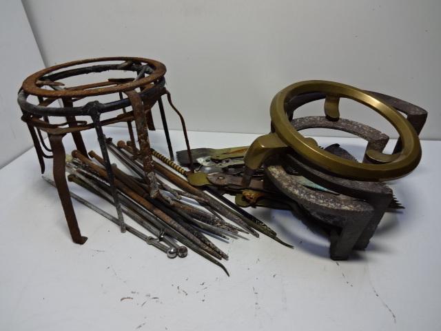 火鉢道具セット 五徳 火箸 灰ならし 100サイズ 真鍮・鉄など お茶道具_画像2
