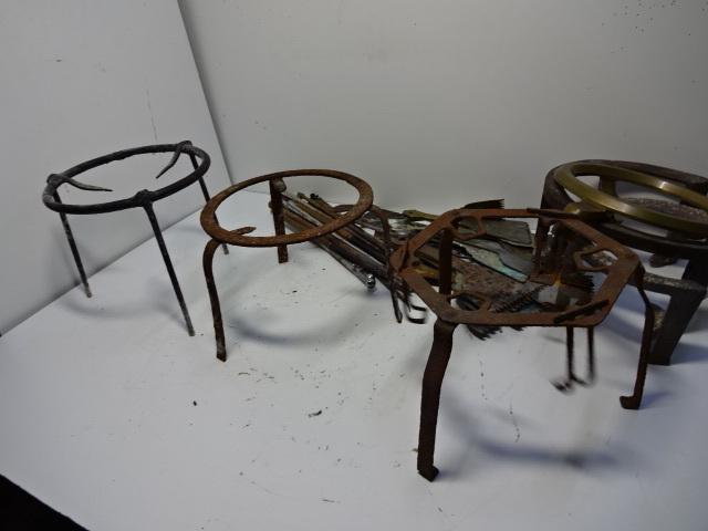 火鉢道具セット 五徳 火箸 灰ならし 100サイズ 真鍮・鉄など お茶道具_画像3