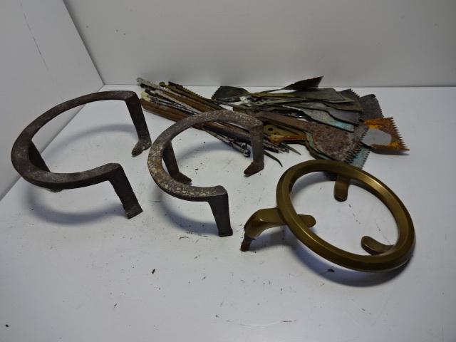 火鉢道具セット 五徳 火箸 灰ならし 100サイズ 真鍮・鉄など お茶道具_画像4