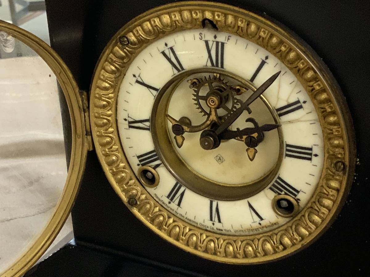 ■ USA アンソニア 振り子式 ボンボン鉄枠置時計 完動品_画像4