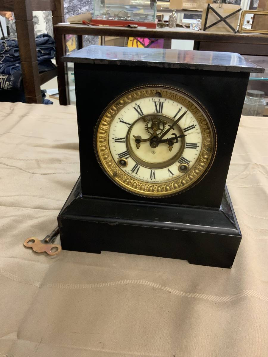 ■ USA アンソニア 振り子式 ボンボン鉄枠置時計 完動品