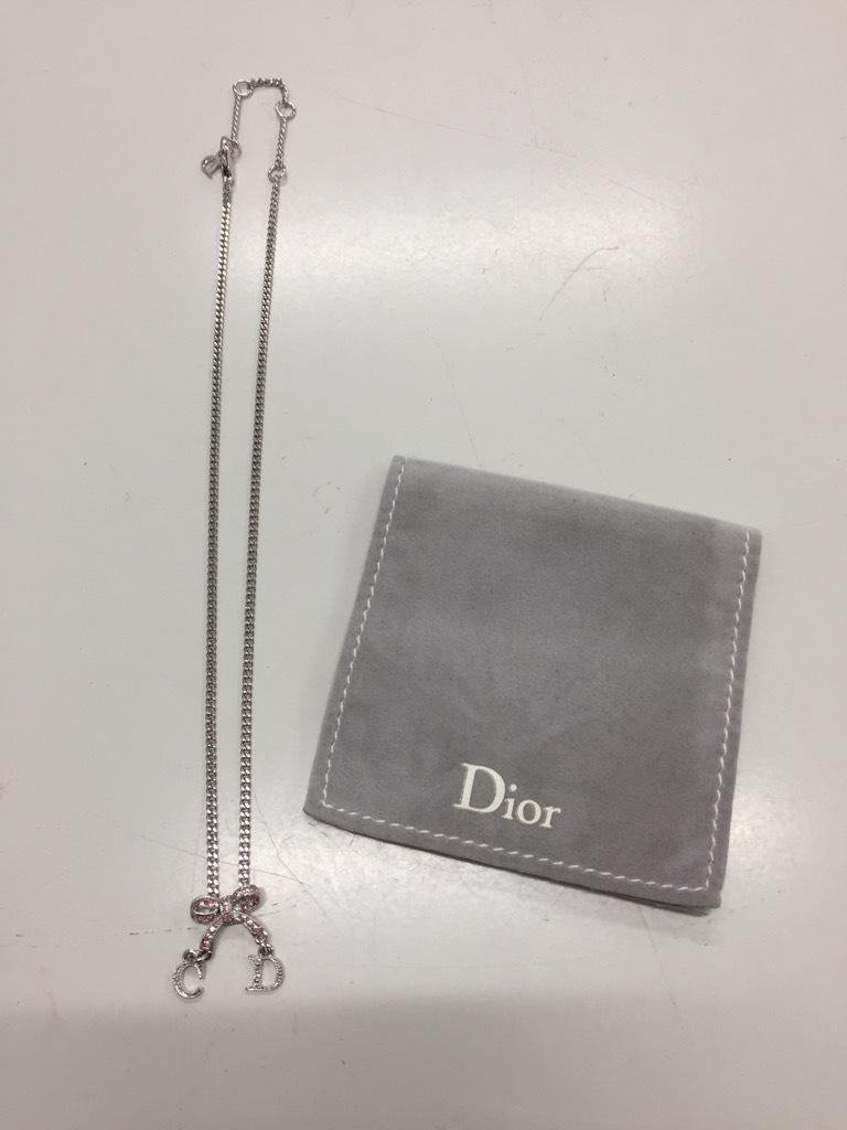『4782』  Christian Dior ディオール ネックレス リボンモチーフ チェーン40cm