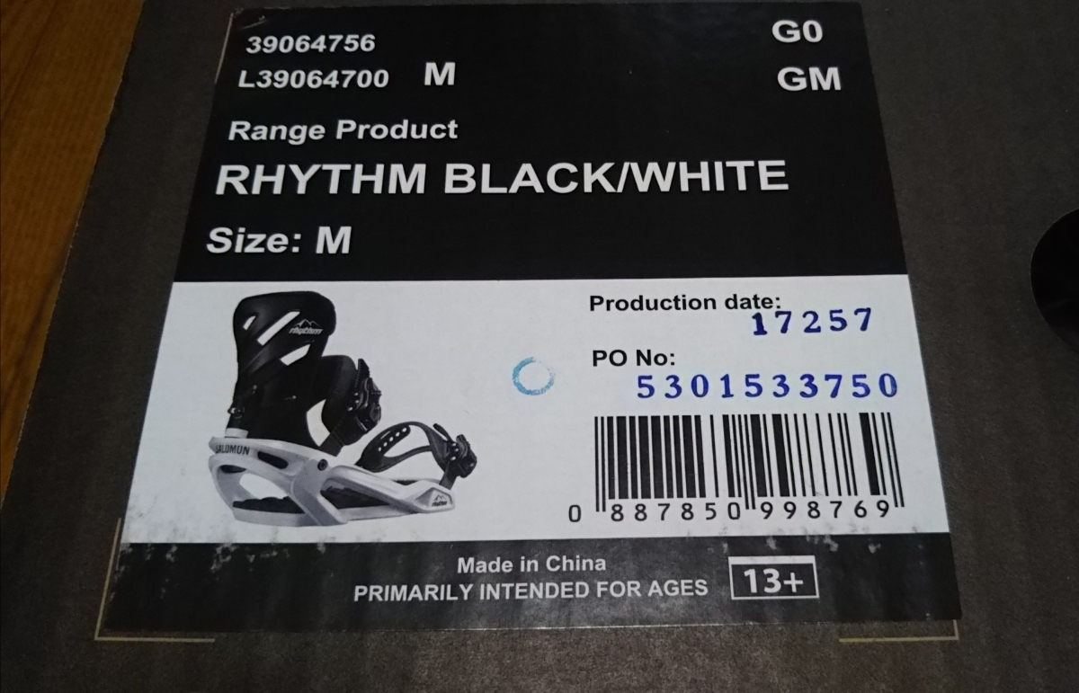2018モデル SALOMON サロモン ビンディング RHYTHM サイズM Black/White_画像2
