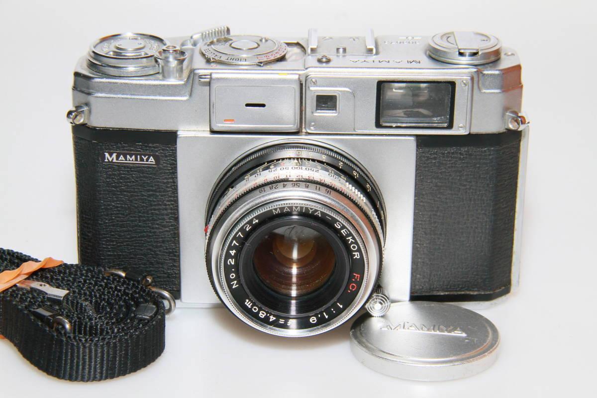 キレイな中古MAMIYA MAMIYA-SEKOR F.C.4.8cm F1.9 メタルキャップ、ストラップ付、作動確認済み