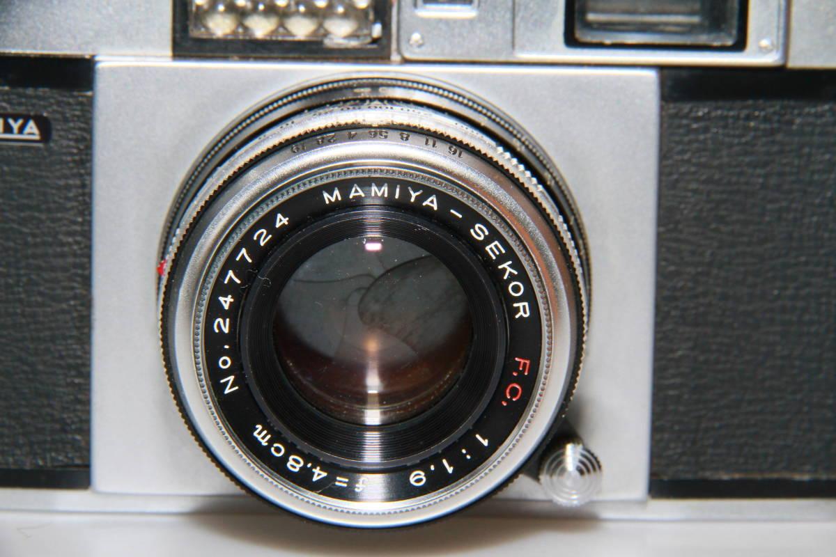 キレイな中古MAMIYA MAMIYA-SEKOR F.C.4.8cm F1.9 メタルキャップ、ストラップ付、作動確認済み_画像2