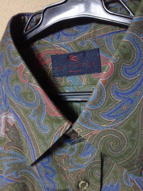 エトロ メンズ 長袖シャツ サイズL 毛・シルク ダークグリーン・レッド・ブルー・イエロー ボタニカル_画像3