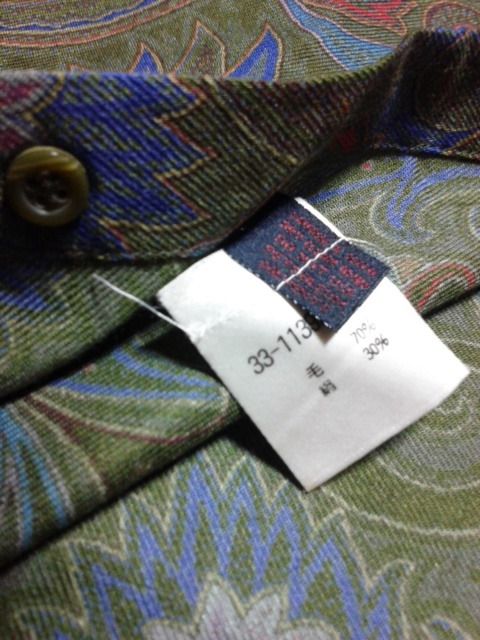 エトロ メンズ 長袖シャツ サイズL 毛・シルク ダークグリーン・レッド・ブルー・イエロー ボタニカル_画像4