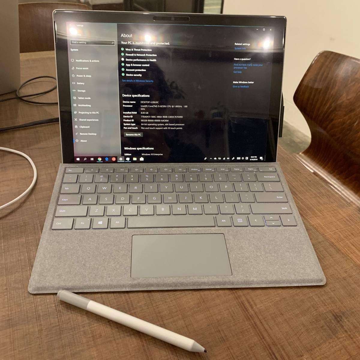 【美品】Surface Pro 6 model 1796 USキーボード 最新ペンシル付き SSD128GB, メモリ8GB、【全て箱付き】