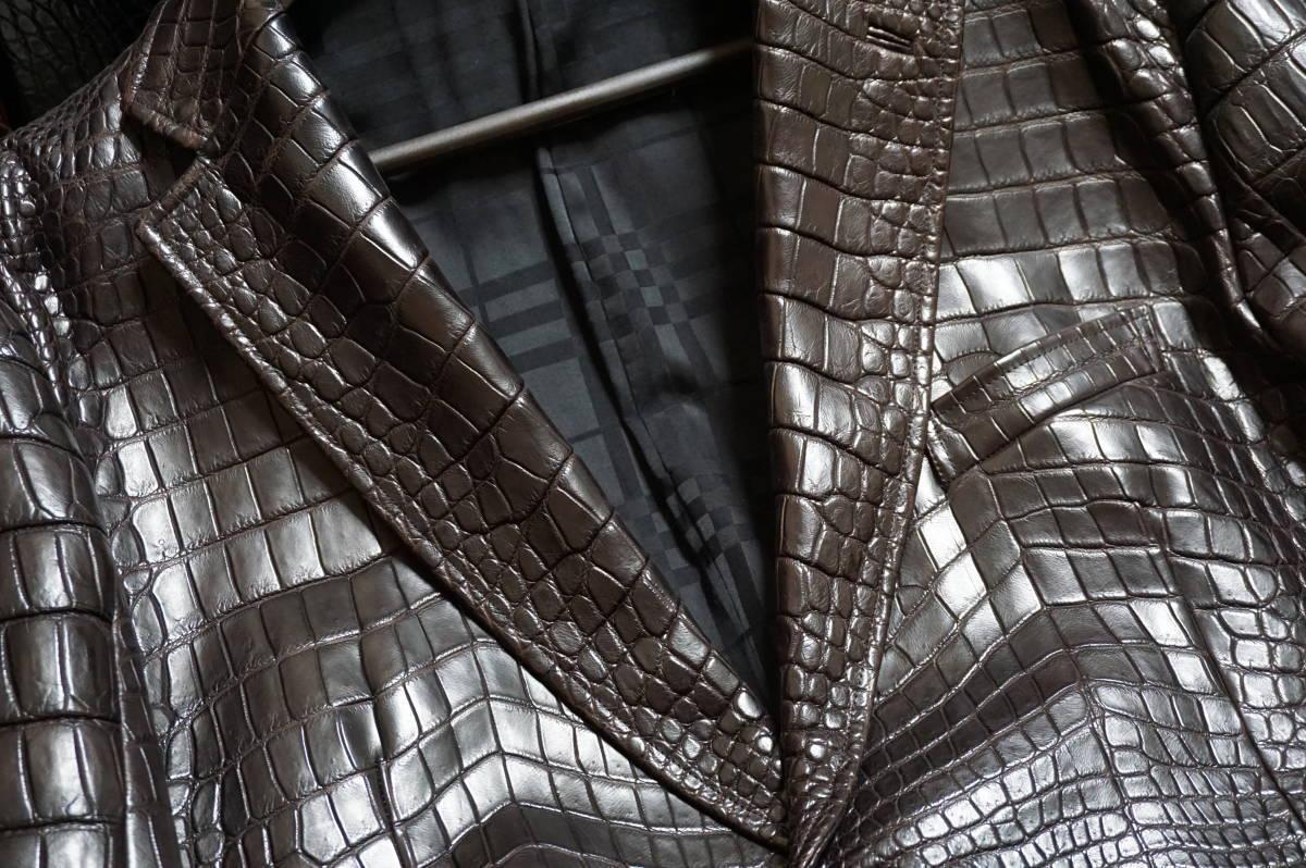 6100/ 新品同様 ポロサスマット クロコダイル 世界に一つのオーダーメイド 1000万超 最高級ワニ革 クロコ ジャケット キングサイズ_画像2
