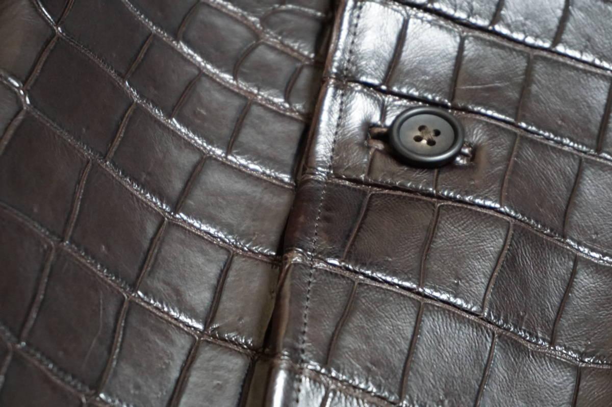 6100/ 新品同様 ポロサスマット クロコダイル 世界に一つのオーダーメイド 1000万超 最高級ワニ革 クロコ ジャケット キングサイズ_画像5