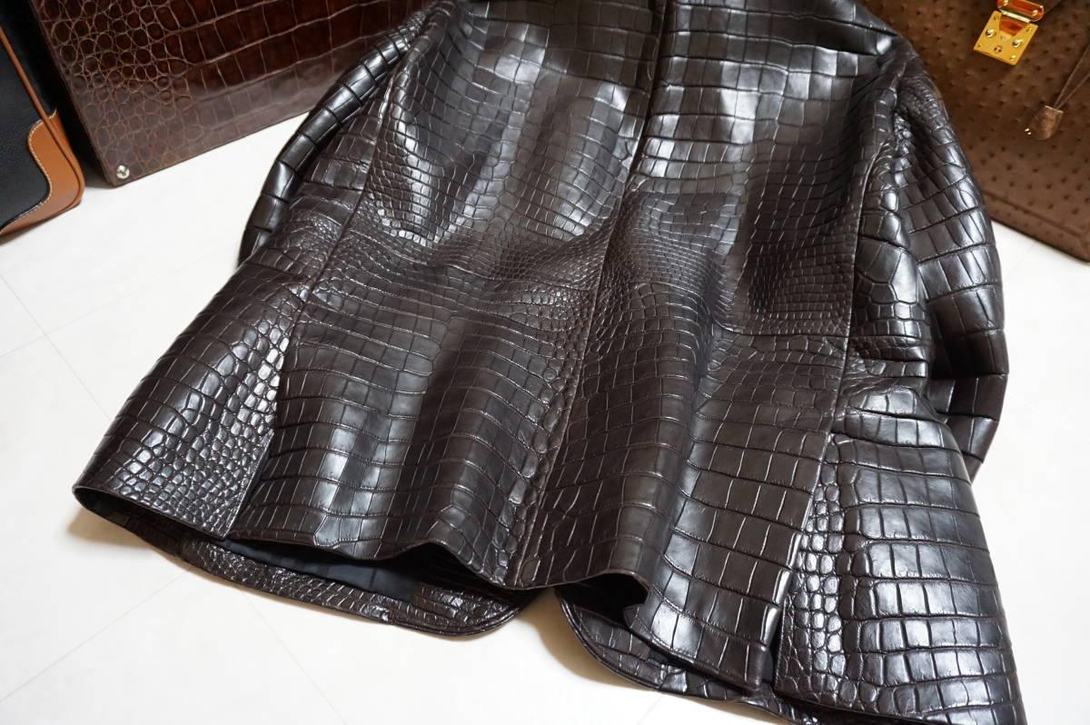 6100/ 新品同様 ポロサスマット クロコダイル 世界に一つのオーダーメイド 1000万超 最高級ワニ革 クロコ ジャケット キングサイズ_画像10